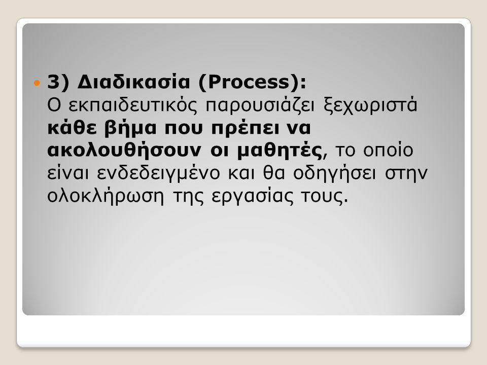  3) Διαδικασία (Process): Ο εκπαιδευτικός παρουσιάζει ξεχωριστά κάθε βήμα που πρέπει να ακολουθήσουν οι μαθητές, το οποίο είναι ενδεδειγμένο και θα οδηγήσει στην ολοκλήρωση της εργασίας τους.