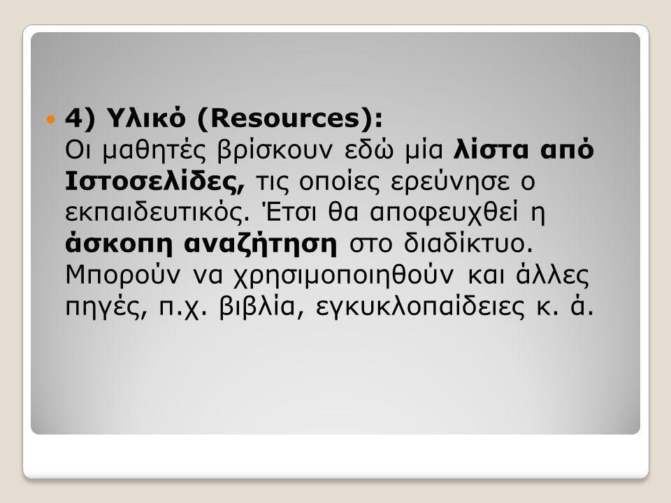  4) Υλικό (Resources): Οι μαθητές βρίσκουν εδώ μία λίστα από Ιστοσελίδες, τις οποίες ερεύνησε ο εκπαιδευτικός. Έτσι θα αποφευχθεί η άσκοπη αναζήτηση