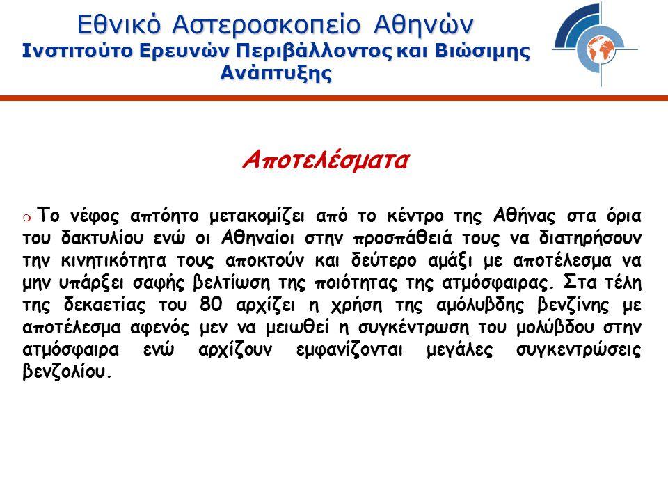 Εθνικό Αστεροσκοπείο Αθηνών Ινστιτούτο Ερευνών Περιβάλλοντος και Βιώσιμης Ανάπτυξης  Το νέφος απτόητο μετακομίζει από το κέντρο της Αθήνας στα όρια του δακτυλίου ενώ οι Αθηναίοι στην προσπάθειά τους να διατηρήσουν την κινητικότητα τους αποκτούν και δεύτερο αμάξι με αποτέλεσμα να μην υπάρξει σαφής βελτίωση της ποιότητας της ατμόσφαιρας.