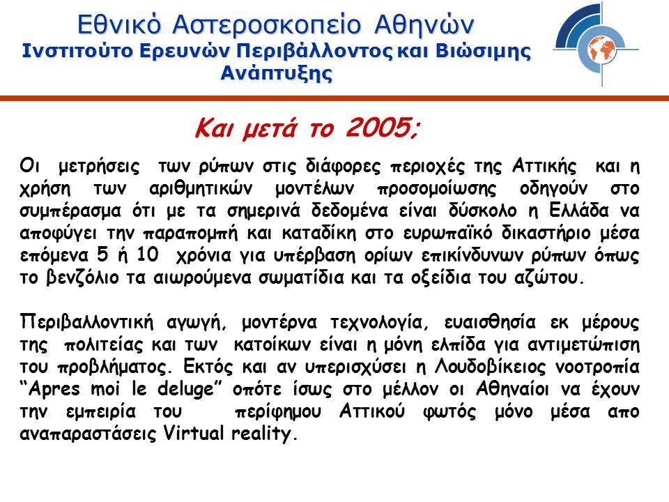 Εθνικό Αστεροσκοπείο Αθηνών Ινστιτούτο Ερευνών Περιβάλλοντος και Βιώσιμης Ανάπτυξης Οι μετρήσεις των ρύπων στις διάφορες περιοχές της Αττικής και η χρήση των αριθμητικών μοντέλων προσομοίωσης οδηγούν στο συμπέρασμα ότι με τα σημερινά δεδομένα είναι δύσκολο η Ελλάδα να αποφύγει την παραπομπή και καταδίκη στο ευρωπαϊκό δικαστήριο μέσα επόμενα 5 ή 10 χρόνια για υπέρβαση ορίων επικίνδυνων ρύπων όπως το βενζόλιο τα αιωρούμενα σωματίδια και τα οξείδια του αζώτου.