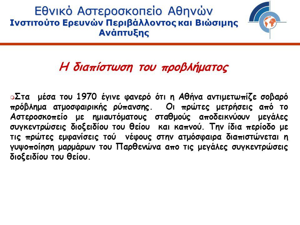 Εθνικό Αστεροσκοπείο Αθηνών Ινστιτούτο Ερευνών Περιβάλλοντος και Βιώσιμης Ανάπτυξης Συγκεντρώσεις Βενζολίου (Περαιώς, Ρέντη) Το πρόβλημα του βενζολίου στην Αθήνα