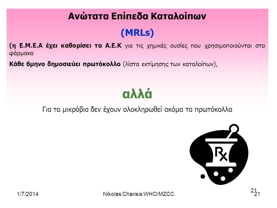 1/7/2014Nikolas Charisis WHO/MZCC21 Ανώτατα Επίπεδα Καταλοίπων (MRLs) (η E.M.E.A έχει καθορίσει τα Α.Ε.Κ για τις χημικές ουσίες που χρησιμοποιούνται σ