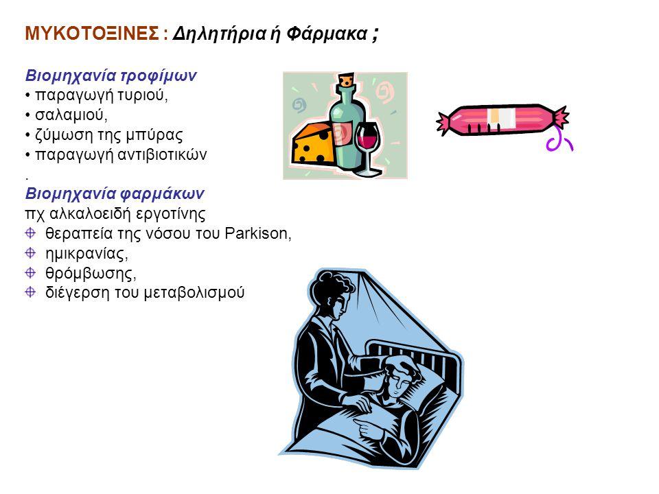 ΜΥΚΟΤΟΞΙΝΕΣ : Δηλητήρια ή Φάρμακα ; Βιομηχανία τροφίμων • παραγωγή τυριού, • σαλαμιού, • ζύμωση της μπύρας • παραγωγή αντιβιοτικών. Βιομηχανία φαρμάκω