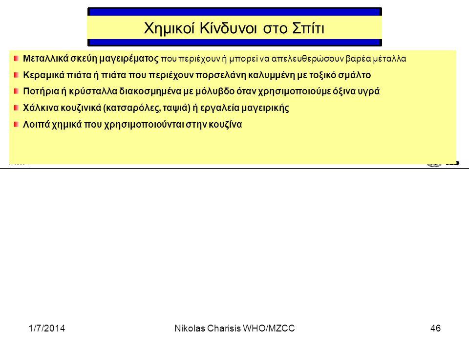 1/7/2014Nikolas Charisis WHO/MZCC46 Χημικοί Κίνδυνοι στο Σπίτι Μεταλλικά σκεύη μαγειρέματος που περιέχουν ή μπορεί να απελευθερώσουν βαρέα μέταλλα Κερ