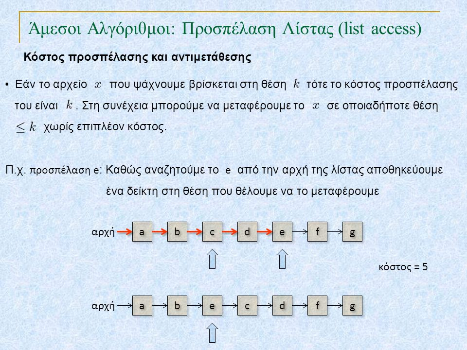 Άμεσοι Αλγόριθμοι: Προσπέλαση Λίστας (list access) TexPoint fonts used in EMF. Read the TexPoint manual before you delete this box.: AA A A A b b c c