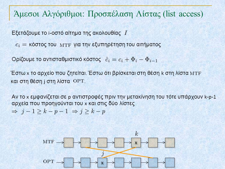 Άμεσοι Αλγόριθμοι: Προσπέλαση Λίστας (list access) TexPoint fonts used in EMF. Read the TexPoint manual before you delete this box.: AA A A A Εξετάζου
