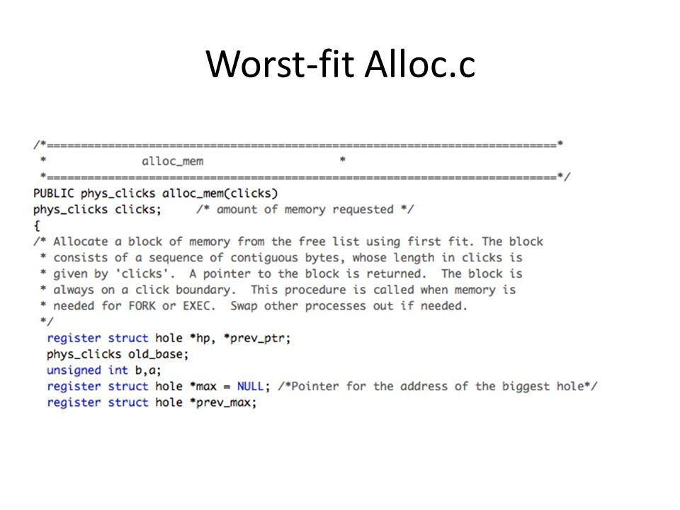 Worst-fit Alloc.c