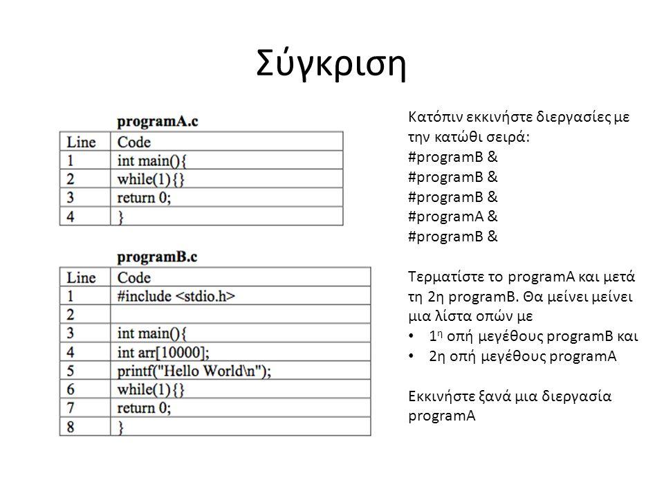 Σύγκριση Κατόπιν εκκινήστε διεργασίες με την κατώθι σειρά: #programB & #programA & #programB & Τερματίστε το programA και μετά τη 2η programB.