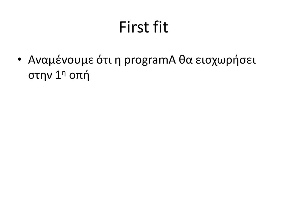 First fit • Αναμένουμε ότι η programA θα εισχωρήσει στην 1 η οπή
