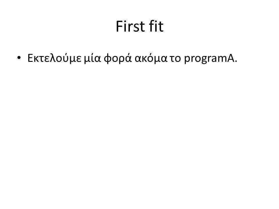 First fit • Εκτελούμε μία φορά ακόμα το programA.