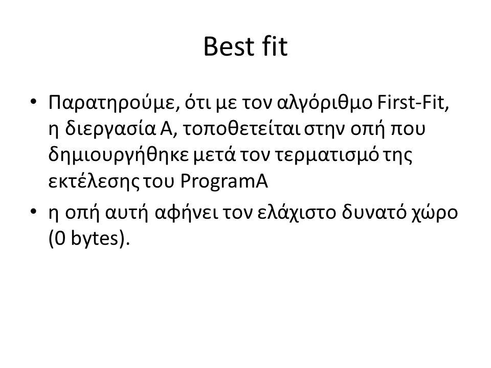 Best fit • Παρατηρούμε, ότι με τον αλγόριθμο First-Fit, η διεργασία Α, τοποθετείται στην οπή που δημιουργήθηκε μετά τον τερματισμό της εκτέλεσης του ProgramA • η οπή αυτή αφήνει τον ελάχιστο δυνατό χώρο (0 bytes).