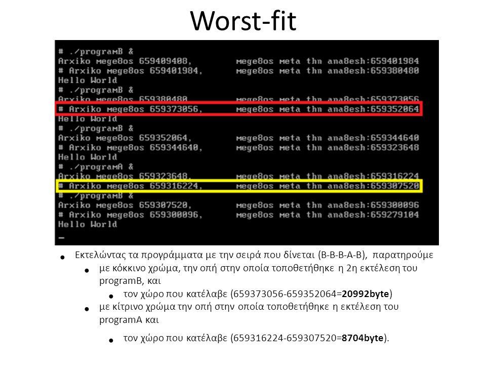 Worst-fit • Εκτελώντας τα προγράμματα με την σειρά που δίνεται (Β-Β-Β-Α-Β), παρατηρούμε • με κόκκινο χρώμα, την οπή στην οποία τοποθετήθηκε η 2η εκτέλεση του programB, και • τον χώρο που κατέλαβε (659373056-659352064=20992byte) • με κίτρινο χρώμα την οπή στην οποία τοποθετήθηκε η εκτέλεση του programA και • τον χώρο που κατέλαβε (659316224-659307520=8704byte).