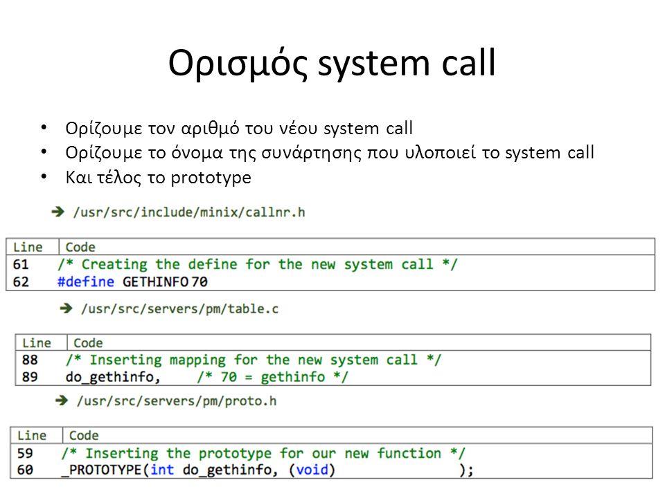 Ορισμός system call • Ορίζουμε τον αριθμό του νέου system call • Ορίζουμε το όνομα της συνάρτησης που υλοποιεί το system call • Και τέλος το prototype