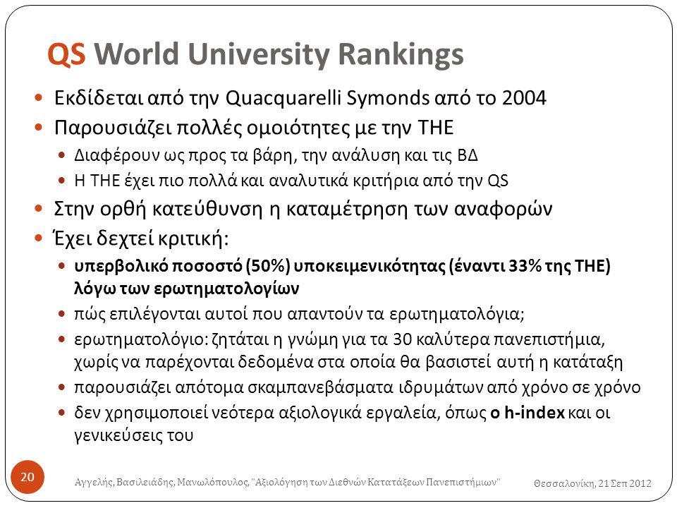 QS World University Rankings Θεσσαλονίκη, 21 Σεπ 2012  Εκδίδεται από την Quacquarelli Symonds από το 2004  Παρουσιάζει πολλές ομοιότητες με την THE  Διαφέρουν ως προς τα βάρη, την ανάλυση και τις ΒΔ  Η THE έχει πιο πολλά και αναλυτικά κριτήρια από την QS  Στην ορθή κατεύθυνση η καταμέτρηση των αναφορών  Έχει δεχτεί κριτική:  υπερβολικό ποσοστό (50%) υποκειμενικότητας (έναντι 33% της THE) λόγω των ερωτηματολογίων  πώς επιλέγονται αυτοί που απαντούν τα ερωτηματολόγια;  ερωτηματολόγιο: ζητάται η γνώμη για τα 30 καλύτερα πανεπιστήμια, χωρίς να παρέχονται δεδομένα στα οποία θα βασιστεί αυτή η κατάταξη  παρουσιάζει απότομα σκαμπανεβάσματα ιδρυμάτων από χρόνο σε χρόνο  δεν χρησιμοποιεί νεότερα αξιολογικά εργαλεία, όπως ο h-index και οι γενικεύσεις του Αγγελής, Βασιλειάδης, Μανωλόπουλος, Αξιολόγηση των Διεθνών Κατατάξεων Πανεπιστήμιων 20