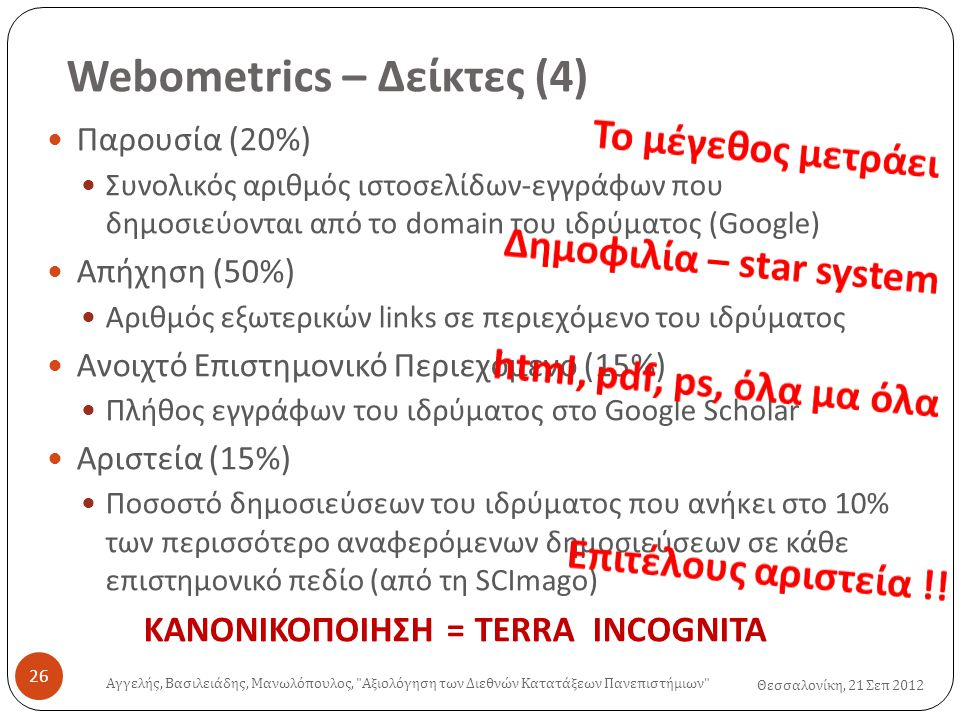Webometrics – Δείκτες (4) Θεσσαλονίκη, 21 Σεπ 2012  Παρουσία (20%)  Συνολικός αριθμός ιστοσελίδων-εγγράφων που δημοσιεύονται από το domain του ιδρύματος (Google)  Απήχηση (50%)  Αριθμός εξωτερικών links σε περιεχόμενο του ιδρύματος  Ανοιχτό Επιστημονικό Περιεχόμενο (15%)  Πλήθος εγγράφων του ιδρύματος στο Google Scholar  Αριστεία (15%)  Ποσοστό δημοσιεύσεων του ιδρύματος που ανήκει στο 10% των περισσότερο αναφερόμενων δημοσιεύσεων σε κάθε επιστημονικό πεδίο (από τη SCImago) ΚΑΝΟΝΙΚΟΠΟΙΗΣΗ = TERRA INCOGNITA Αγγελής, Βασιλειάδης, Μανωλόπουλος, Αξιολόγηση των Διεθνών Κατατάξεων Πανεπιστήμιων 26