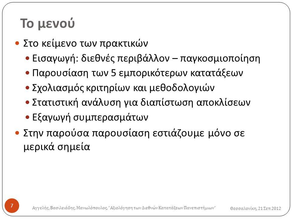 Το μενού Θεσσαλονίκη, 21 Σεπ 2012  Στο κείμενο των πρακτικών  Εισαγωγή : διεθνές περιβάλλον – παγκοσμιοποίηση  Παρουσίαση των 5 εμπορικότερων κατατάξεων  Σχολιασμός κριτηρίων και μεθοδολογιών  Στατιστική ανάλυση για διαπίστωση αποκλίσεων  Εξαγωγή συμπερασμάτων  Στην παρούσα παρουσίαση εστιάζουμε μόνο σε μερικά σημεία Αγγελής, Βασιλειάδης, Μανωλόπουλος, Αξιολόγηση των Διεθνών Κατατάξεων Πανεπιστήμιων 7