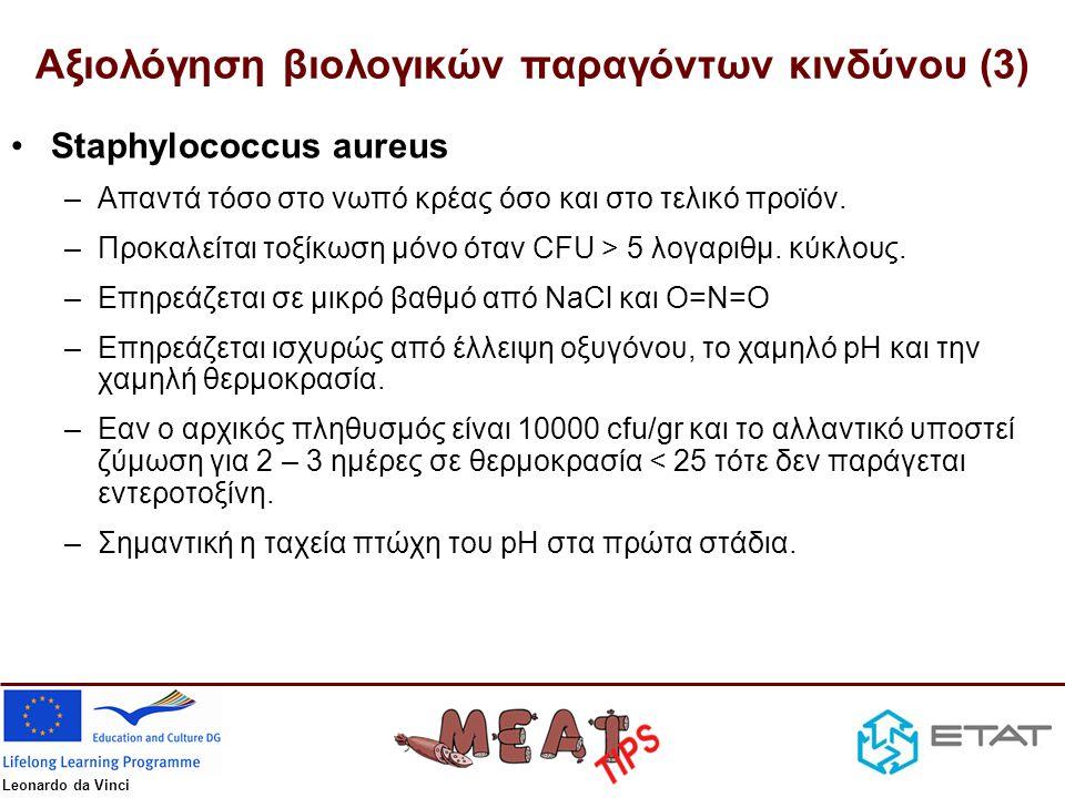 Leonardo da Vinci Αξιολόγηση βιολογικών παραγόντων κινδύνου (4) •Listeria monocytogenes –Ικανή να πολλαπλασιάζεται σε χαμηλές θερμοκρασίες κσι σχετικά χαμηλή aw (>0.93).