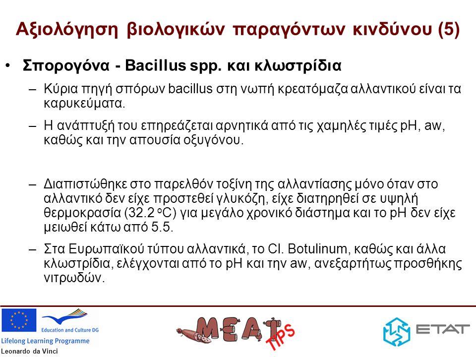 Leonardo da Vinci Αξιολόγηση βιολογικών παραγόντων κινδύνου (5) •Σπορογόνα - Bacillus spp. και κλωστρίδια –Κύρια πηγή σπόρων bacillus στη νωπή κρεατόμ