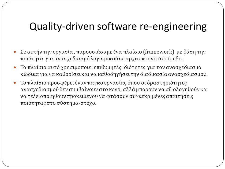 Quality-driven software re-engineering  Σε αυτήν την εργασία, παρουσιάσαμε ένα πλαίσιο (framework) με βάση την ποιότητα για ανασχεδιασμό λογισμικού σε αρχιτεκτονικό επίπεδο.