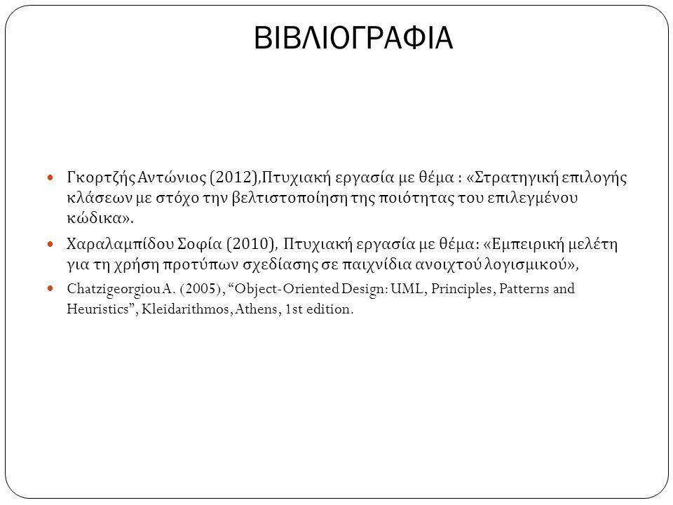 ΒΙΒΛΙΟΓΡΑΦΙΑ  Γκορτζής Αντώνιος (2012), Πτυχιακή εργασία με θέμα : « Στρατηγική επιλογής κλάσεων με στόχο την βελτιστοποίηση της ποιότητας του επιλεγμένου κώδικα ».