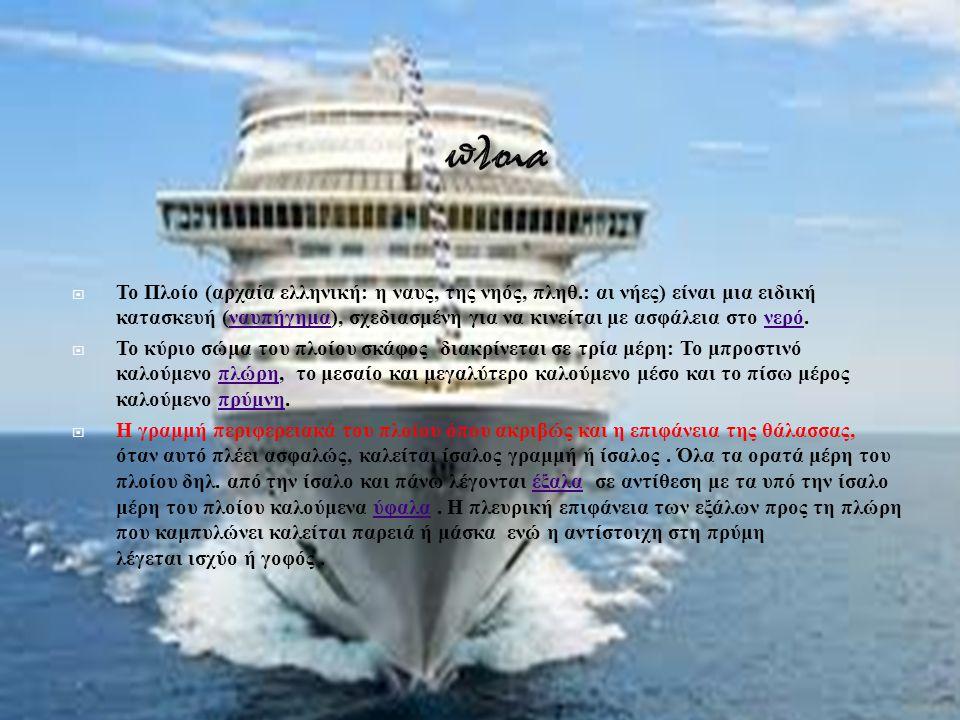  Το Πλοίο ( αρχαία ελληνική : η ναυς, της νηός, πληθ.: αι νήες ) είναι μια ειδική κατασκευή ( ναυπήγημα ), σχεδιασμένη για να κινείται με ασφάλεια στ