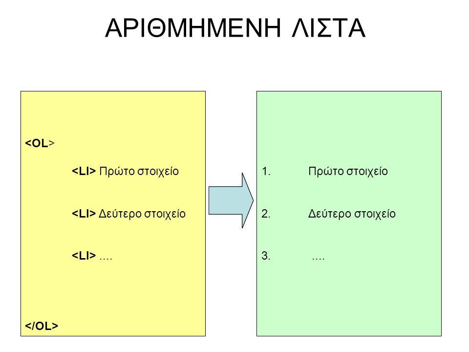 Πρώτο στοιχείο Δεύτερο στοιχείο.... ΑΡΙΘΜΗΜΕΝΗ ΛΙΣΤΑ 1.Πρώτο στοιχείο 2.Δεύτερο στοιχείο 3..... Πρώτο στοιχείο Δεύτερο στοιχείο.... 1.Πρώτο στοιχείο 2