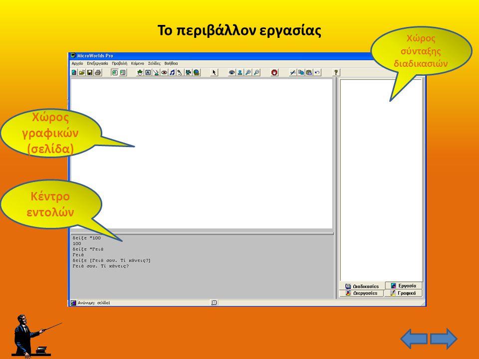 Το περιβάλλον εργασίας Χώρος γραφικών (σελίδα) Κέντρο εντολών Χώρος σύνταξης διαδικασιών