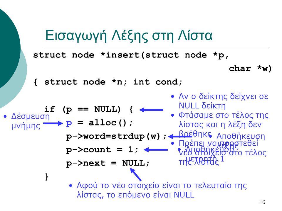 16 Εισαγωγή Λέξης στη Λίστα struct node *insert(struct node *p, char *w) {struct node *n;int cond; if (p == NULL) { p = alloc(); p->word=strdup(w); p-
