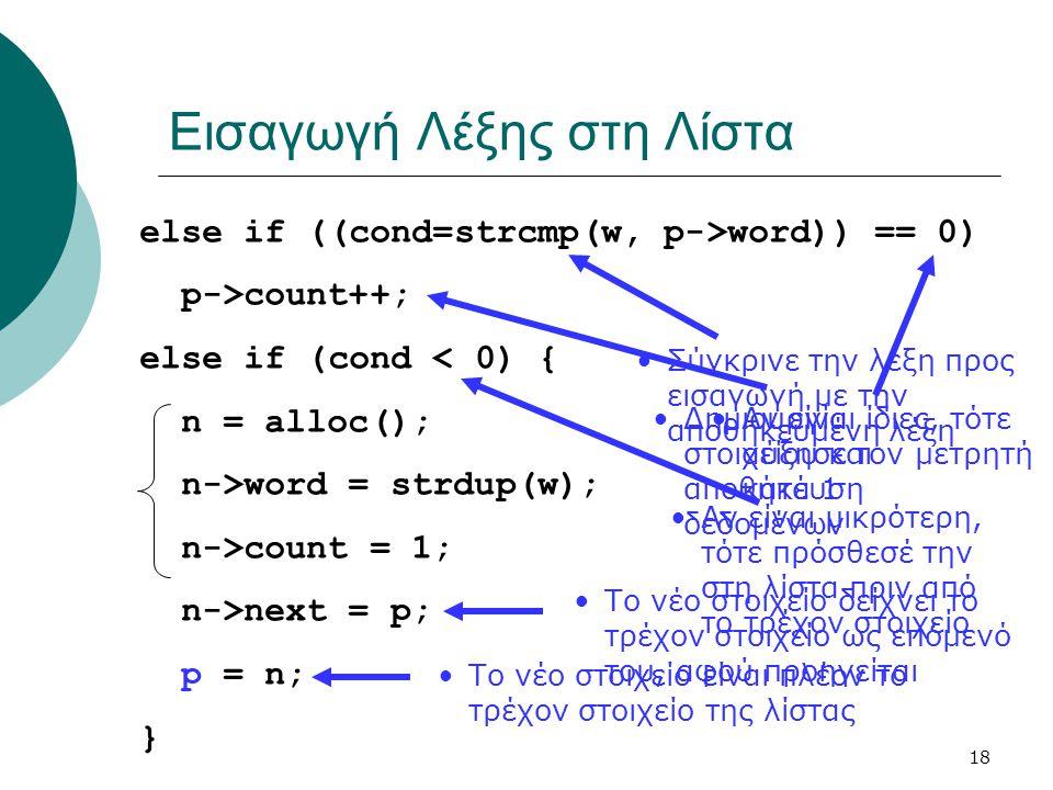 18 Εισαγωγή Λέξης στη Λίστα else if ((cond=strcmp(w, p->word)) == 0) p->count++; else if (cond < 0) { n = alloc(); n->word = strdup(w); n->count = 1; n->next = p; p = n; } •Σύγκρινε την λέξη προς εισαγωγή με την αποθηκευμένη λέξη •Αν είναι ίδιες, τότε αύξησε τον μετρητή κατά 1 •Αν είναι μικρότερη, τότε πρόσθεσέ την στη λίστα πριν από το τρέχον στοιχείο •Δημιουργία στοιχείου και αποθήκευση δεδομένων •Το νέο στοιχείο δείχνει το τρέχον στοιχείο ως επόμενό του, αφού προηγείται •Το νέο στοιχείο είναι πλέον το τρέχον στοιχείο της λίστας