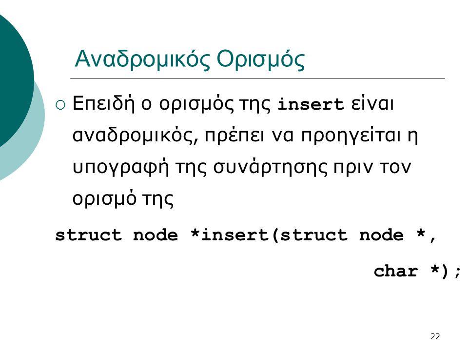 22 Αναδρομικός Ορισμός  Επειδή ο ορισμός της insert είναι αναδρομικός, πρέπει να προηγείται η υπογραφή της συνάρτησης πριν τον ορισμό της struct node