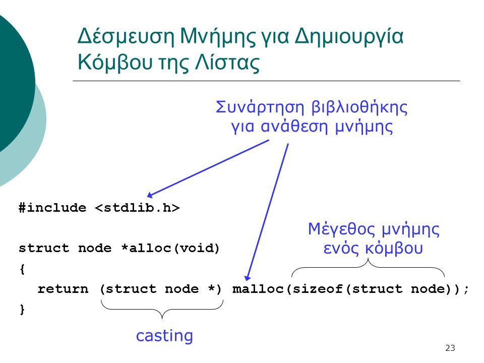 23 Δέσμευση Μνήμης για Δημιουργία Κόμβου της Λίστας #include struct node *alloc(void) { return (struct node *) malloc(sizeof(struct node)); } Μέγεθος