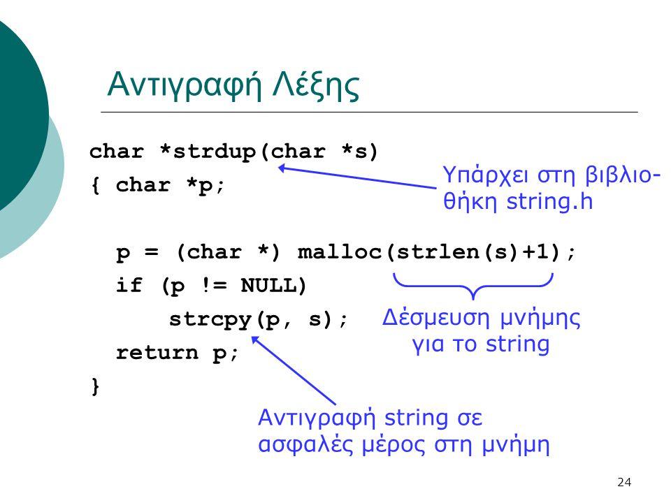 24 Αντιγραφή Λέξης char *strdup(char *s) {char *p; p = (char *) malloc(strlen(s)+1); if (p != NULL) strcpy(p, s); return p; } Αντιγραφή string σε ασφα