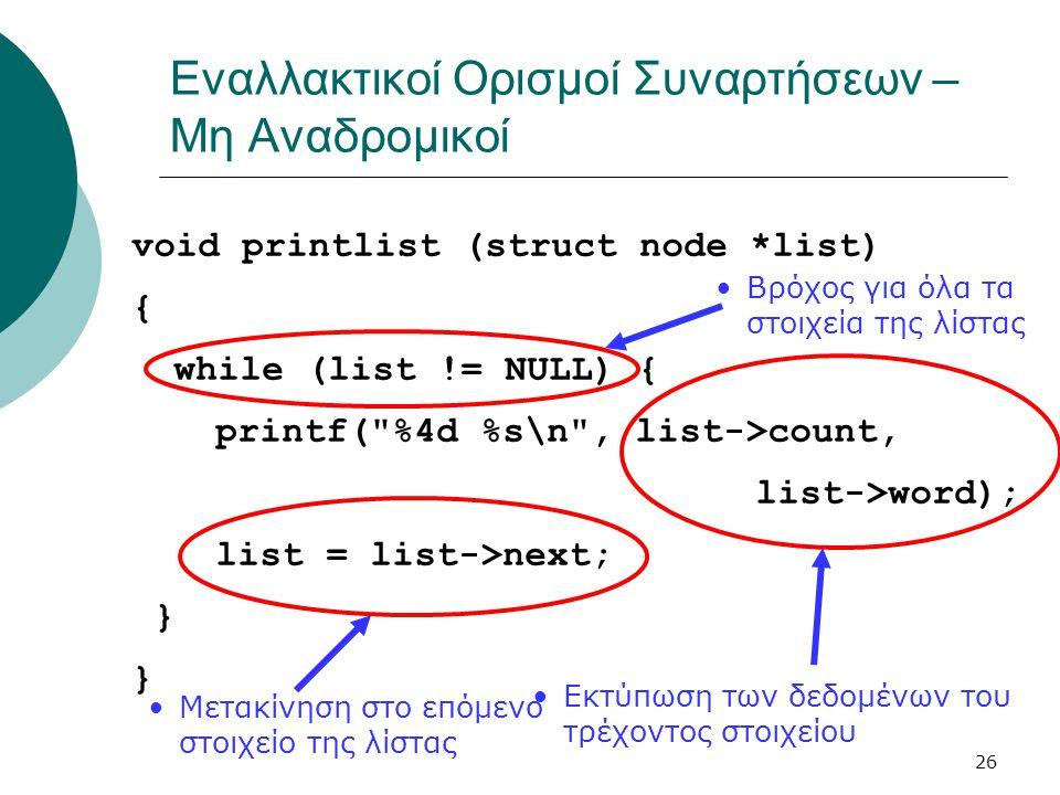 26 Εναλλακτικοί Ορισμοί Συναρτήσεων – Μη Αναδρομικοί void printlist (struct node *list) { while (list != NULL) { printf(
