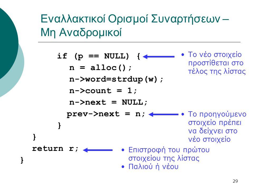 29 Εναλλακτικοί Ορισμοί Συναρτήσεων – Μη Αναδρομικοί if (p == NULL) { n = alloc(); n->word=strdup(w); n->count = 1; n->next = NULL; prev->next = n; }
