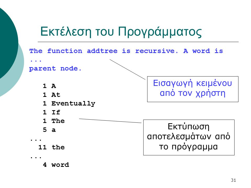 31 Εκτέλεση του Προγράμματος The function addtree is recursive. A word is... parent node. 1 A 1 At 1 Eventually 1 If 1 The 5 a... 11 the... 4 word Εισ
