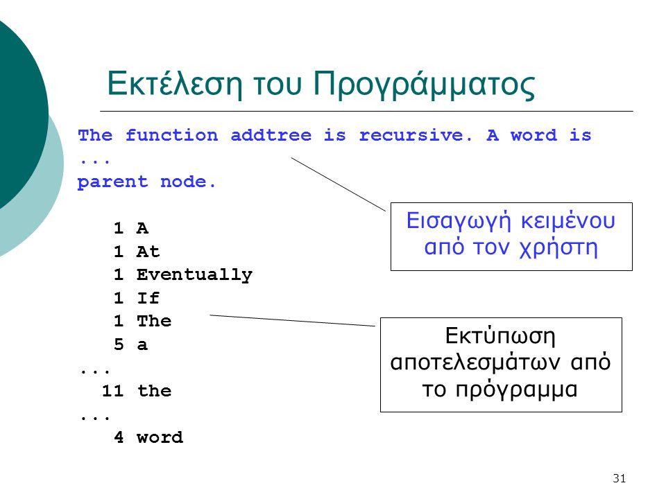 31 Εκτέλεση του Προγράμματος The function addtree is recursive.
