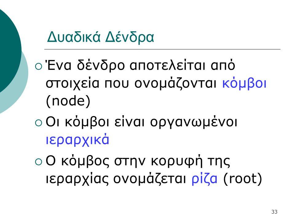 33 Δυαδικά Δένδρα  Ένα δένδρο αποτελείται από στοιχεία που ονομάζονται κόμβοι (node)  Οι κόμβοι είναι οργανωμένοι ιεραρχικά  Ο κόμβος στην κορυφή τ