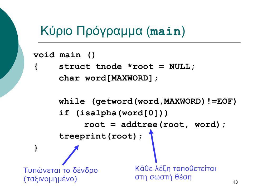 43 Κύριο Πρόγραμμα ( main ) void main () {struct tnode *root = NULL; char word[MAXWORD]; while (getword(word,MAXWORD)!=EOF) if (isalpha(word[0])) root = addtree(root, word); treeprint(root); } Κάθε λέξη τοποθετείται στη σωστή θέση Τυπώνεται το δένδρο (ταξινομημένο)
