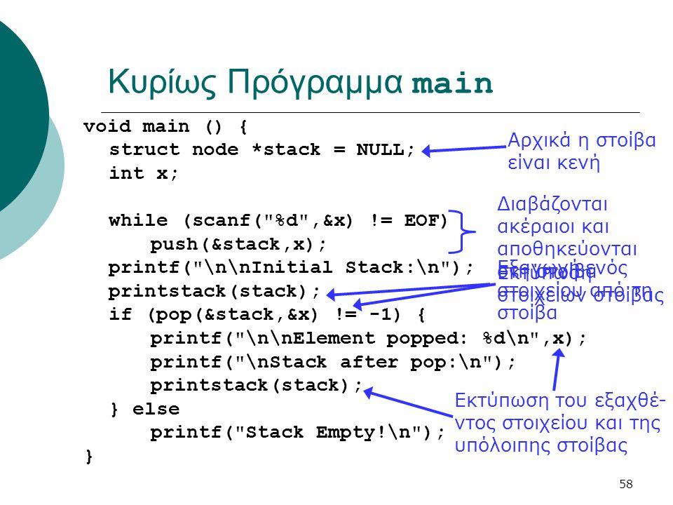 58 Κυρίως Πρόγραμμα main void main () { struct node *stack = NULL; int x; while (scanf( %d ,&x) != EOF) push(&stack,x); printf( \n\nInitial Stack:\n ); printstack(stack); if (pop(&stack,&x) != -1) { printf( \n\nElement popped: %d\n ,x); printf( \nStack after pop:\n ); printstack(stack); } else printf( Stack Empty!\n ); } Διαβάζονται ακέραιοι και αποθηκεύονται στη στοίβα Αρχικά η στοίβα είναι κενή Εκτύπωση στοιχείων στοίβας Εξαγωγή ενός στοιχείου από τη στοίβα Εκτύπωση του εξαχθέ- ντος στοιχείου και της υπόλοιπης στοίβας