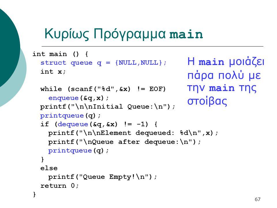 67 Κυρίως Πρόγραμμα main int main () { struct queue q = {NULL,NULL}; int x; while (scanf( %d ,&x) != EOF) enqueue(&q,x); printf( \n\nInitial Queue:\n ); printqueue(q); if (dequeue(&q,&x) != -1) { printf( \n\nElement dequeued: %d\n ,x); printf( \nQueue after dequeue:\n ); printqueue(q); } else printf( Queue Empty!\n ); return 0; } Η main μοιάζει πάρα πολύ με την main της στοίβας