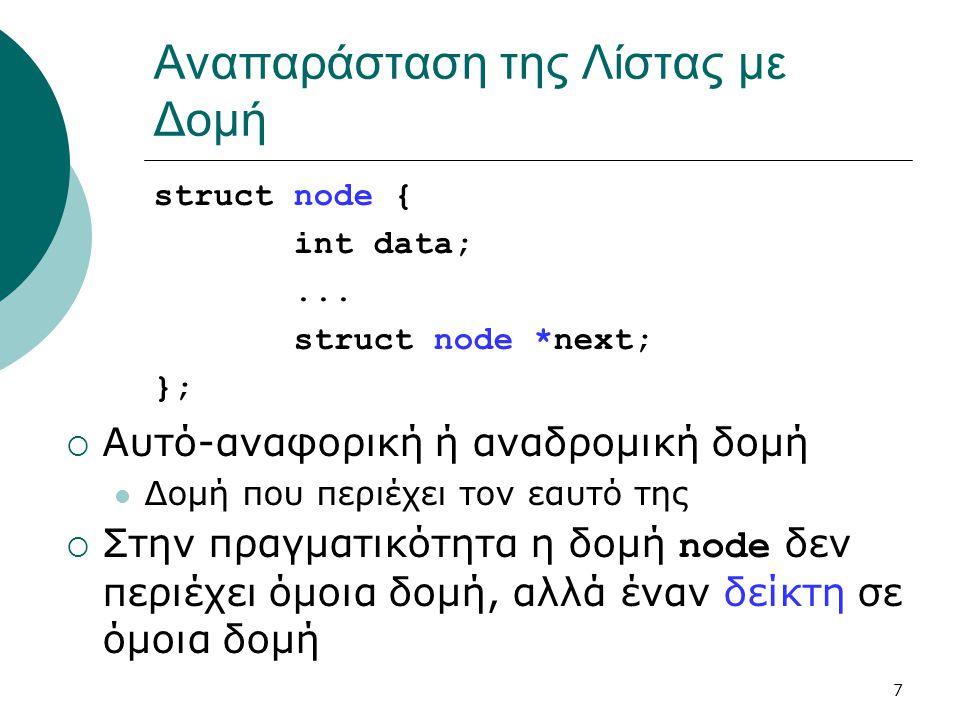 7 Αναπαράσταση της Λίστας με Δομή struct node { int data;... struct node *next; };  Αυτό-αναφορική ή αναδρομική δομή  Δομή που περιέχει τον εαυτό τη