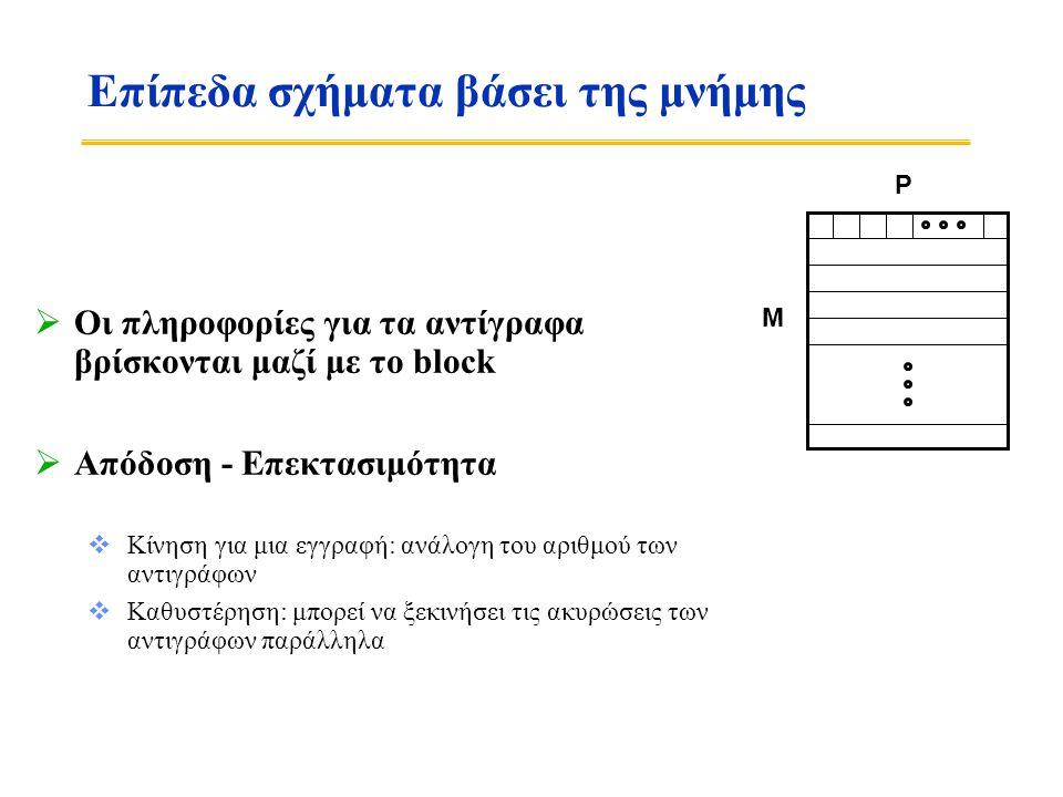 Επίπεδα σχήματα βάσει της μνήμης  Οι πληροφορίες για τα αντίγραφα βρίσκονται μαζί με το block  Απόδοση - Επεκτασιμότητα  Κίνηση για μια εγγραφή: ανάλογη του αριθμού των αντιγράφων  Καθυστέρηση: μπορεί να ξεκινήσει τις ακυρώσεις των αντιγράφων παράλληλα P M