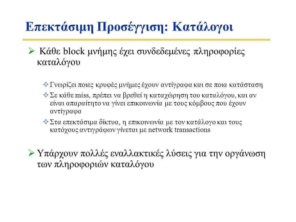 Βασική Λειτουργία του Καταλόγου  k επεξεργαστές  Με κάθε block στη μνήμη: k presence-bits, 1 dirty-bit