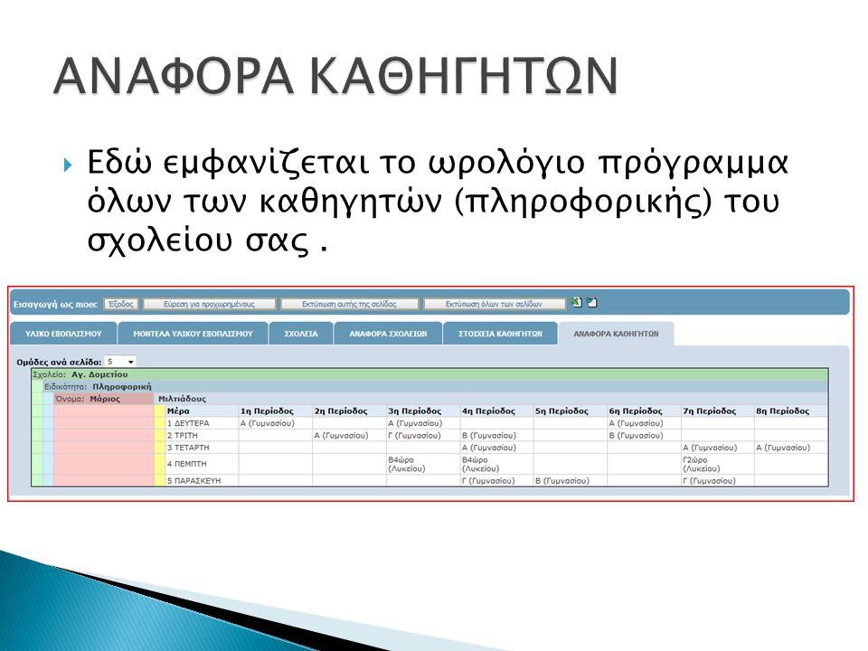  Εδώ εμφανίζεται το ωρολόγιο πρόγραμμα όλων των καθηγητών (πληροφορικής) του σχολείου σας.