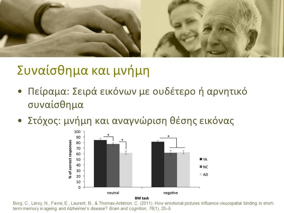 Συναίσθημα και μνήμη •Αλλοίωση αμυγδαλής και ιππόκαμπου –Καμιά βελτίωση της οπτικής μνήμης σε υλικό που προβάλλονται συναισθήματα Landré, L., Sava, A.-A., Krainik, A., Lamalle, L., Krolak-Salmon, P., & Chainay, H.