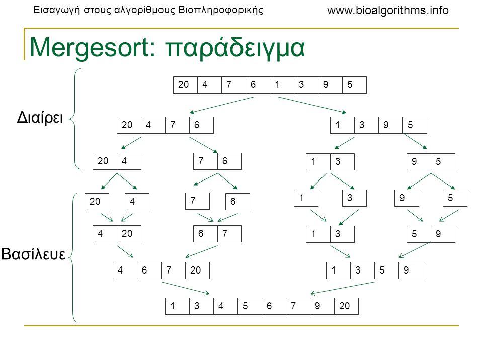 Εισαγωγή στους αλγορίθμους Βιοπληροφορικής www.bioalgorithms.info Mergesort: παράδειγμα 204761395 4761395 476 1395 4 7 6 1395 4 67 1359 467 1359 13456
