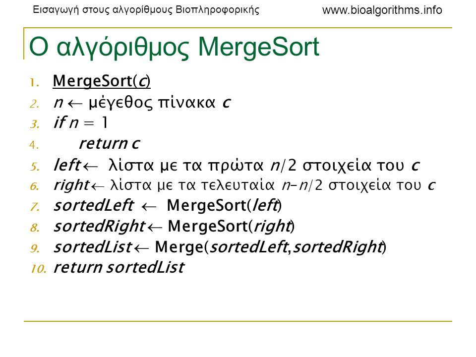 Εισαγωγή στους αλγορίθμους Βιοπληροφορικής www.bioalgorithms.info Ο αλγόριθμος MergeSort 1. MergeSort(c) 2. n  μέγεθος πίνακα c 3. if n = 1 4. return