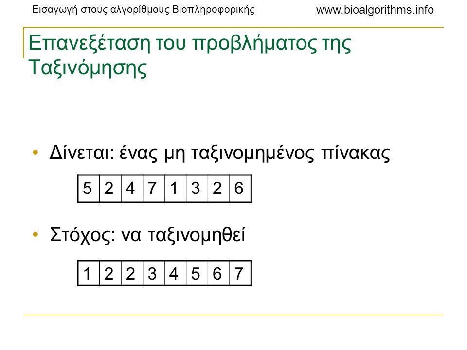 Εισαγωγή στους αλγορίθμους Βιοπληροφορικής www.bioalgorithms.info Επιτάχυνση των Τεσσάρων Ρώσων: χρόνος εκτέλεσης •Αφού ο υπολογισμός του πίνακα αναζήτησης Score με μέγεθος n απαιτεί χρόνο O(n), ο χρόνος εκτέλεσης περιορίζεται κυρίως από τις (n/t)*(n/t) προσπελάσεις στον πίνακα αναζήτησης •Κάθε προσπέλαση απαιτεί χρόνο O(logn) •Συνολικός χρόνος εκτέλεσης: O( [n 2 /t 2 ]*logn ) •Εφόσον ισχύει t = logn, αντικατάσταση στην: O( [n 2 /{logn} 2 ]*logn) > O( n 2 /logn )