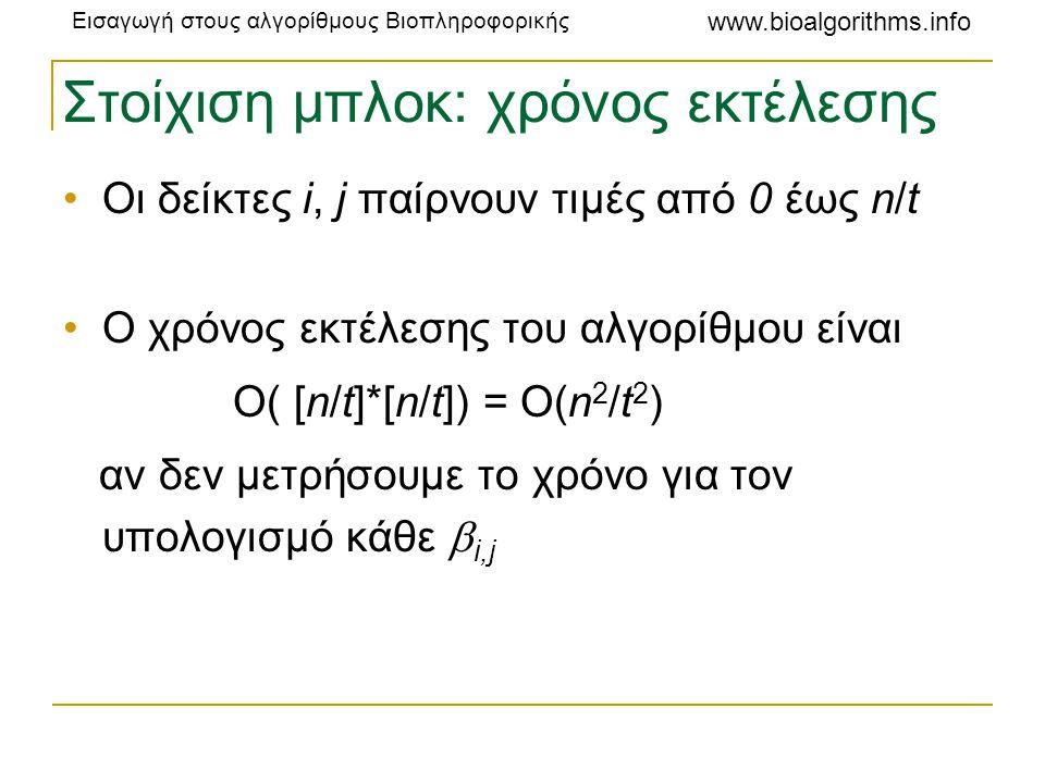 Εισαγωγή στους αλγορίθμους Βιοπληροφορικής www.bioalgorithms.info Στοίχιση μπλοκ: χρόνος εκτέλεσης •Οι δείκτες i, j παίρνουν τιμές από 0 έως n/t •Ο χρ