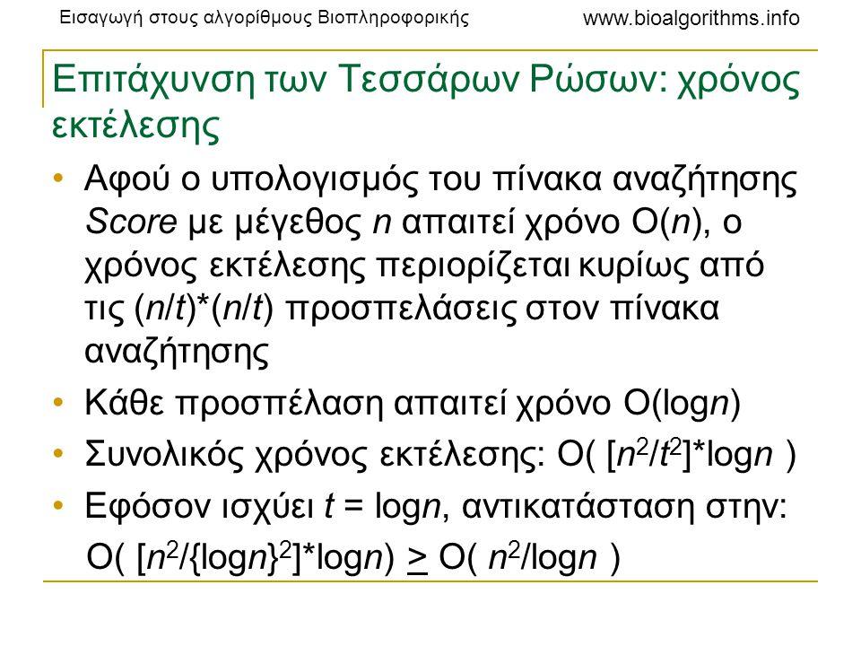 Εισαγωγή στους αλγορίθμους Βιοπληροφορικής www.bioalgorithms.info Επιτάχυνση των Τεσσάρων Ρώσων: χρόνος εκτέλεσης •Αφού ο υπολογισμός του πίνακα αναζή
